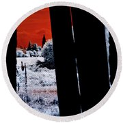 Blood And Moon Round Beach Towel