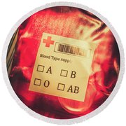 Blood Donation Bag Round Beach Towel