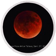 Blood Moon #4 Of Tetrad, Without Location Label Round Beach Towel