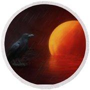 Blood Moon Crow Round Beach Towel