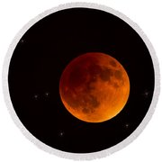 Blood Moon Lunar Eclipse 2015 Round Beach Towel by Saija  Lehtonen