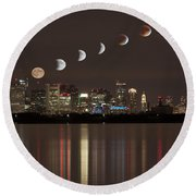 Blood Moon Lunar Eclipse Over Boston Massachusetts Round Beach Towel