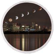 Blood Moon Lunar Eclipse Over Boston Massachusetts Round Beach Towel by Brian MacLean