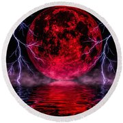 Blood Moon Over Mist Lake Round Beach Towel by Naomi Burgess