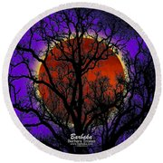 Round Beach Towel featuring the photograph Blood Moon Trees by Barbara Tristan