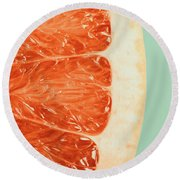 Blood Orange Slice Macro Details Round Beach Towel by Radu Bercan