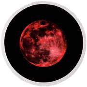 Blood Red Moonscape 3644b Round Beach Towel