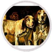 Round Beach Towel featuring the painting Bloodhounds Lou Ellen Chattin 1914 by Peter Gumaer Ogden