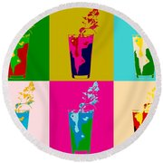 Bloody Mary Pop Art Panels Round Beach Towel by Dan Sproul