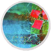 Round Beach Towel featuring the mixed media Bloom Abstract Collage by Nancy Merkle