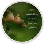 Round Beach Towel featuring the photograph Bloom With Boldness by Debby Pueschel