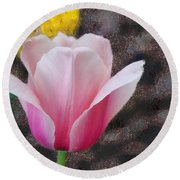 Round Beach Towel featuring the mixed media Bloomin' by Trish Tritz