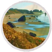 Blooming Bandon Watercolor Round Beach Towel by Wendy McKennon