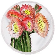 Blooming Cactus Round Beach Towel