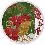 Blooming Christmas I Round Beach Towel