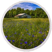 Blooming Country Meadow Round Beach Towel by Marvin Spates