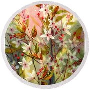 Blooming Magical Gardens I Round Beach Towel