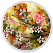 Blooming Magical Gardens II Round Beach Towel