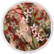 Blooming Magical Gardens Round Beach Towel