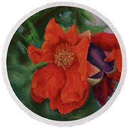 Blooming Poms Round Beach Towel by Marna Edwards Flavell