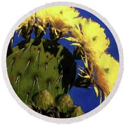 Blooming Prickly Pear Round Beach Towel