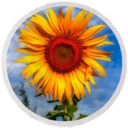 Blooming Sunflower  Round Beach Towel