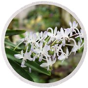 Blooming White Flower Spike Round Beach Towel