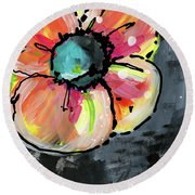 Round Beach Towel featuring the mixed media Blooming Wildflower- Art By Linda Woods by Linda Woods