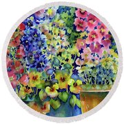 Blooms In Pots Round Beach Towel