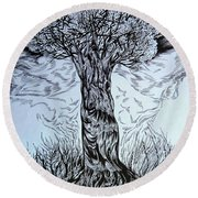Round Beach Towel featuring the drawing Blossom At Any Age by Anna  Duyunova