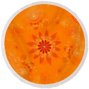 Round Beach Towel featuring the digital art Blossom In Orange by Richard Ortolano