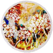 Round Beach Towel featuring the painting Blossom Morning by Winsome Gunning