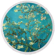 Round Beach Towel featuring the painting Blossoming Almond Tree by Van Gogh