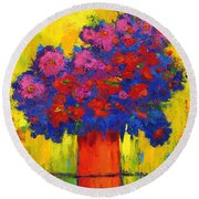 Blossoming Joy Round Beach Towel