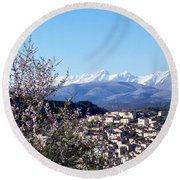 Blossoms With A View Round Beach Towel by Judy Kirouac