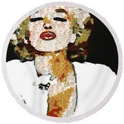 Blow Me A Kiss Marilyn Monroe In The Mix Round Beach Towel