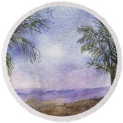 Round Beach Towel featuring the painting Blowing By The Ocean by Vicki  Housel