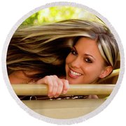 Blowing Hair Round Beach Towel by Bob Pardue