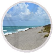 Round Beach Towel featuring the photograph Blowing Rocks Preserve Beach by Carol Bradley
