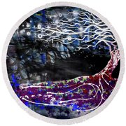 Blowing Tree Round Beach Towel