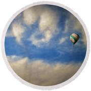 Round Beach Towel featuring the photograph Blown Into A Soft Sky by Glenn McCarthy Art and Photography