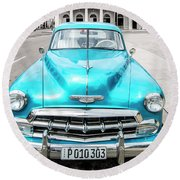 Round Beach Towel featuring the photograph Blue 52 by Lou Novick