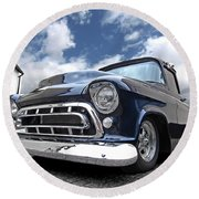 Blue 57 Stepside Chevy Round Beach Towel