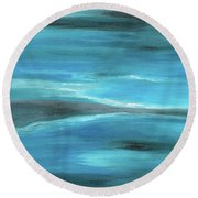 Blue Abstract Art In The Middle Of The Ocean Round Beach Towel