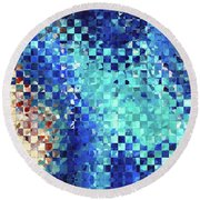 Round Beach Towel featuring the painting Blue Abstract Art - Pieces 2 - Sharon Cummings by Sharon Cummings