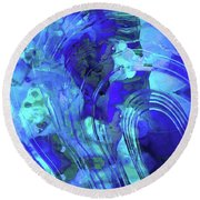Round Beach Towel featuring the painting Blue Abstract Art - Reflections - Sharon Cummings by Sharon Cummings