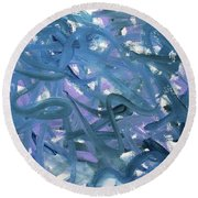 Round Beach Towel featuring the painting Blue Abstract by Megan Dirsa-DuBois