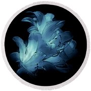 Blue Abstract No. 1 Round Beach Towel