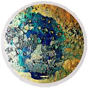 Blue Abstract Round Beach Towel