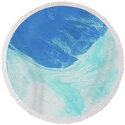 Round Beach Towel featuring the painting Blue Abyss by Nikki Marie Smith